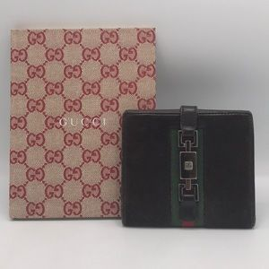 Authentic Gucci Brown Suede &Leather Bifold Wallet